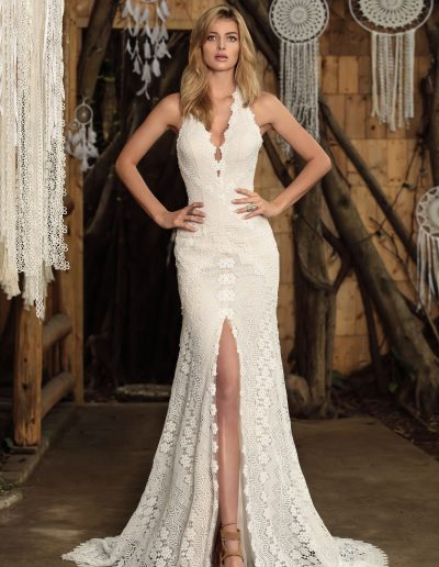 designer wedding dress boho style slit by Chic Nostalgia