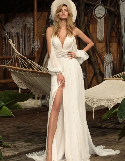 designer wedding dress boho style with hat by Chic Nostalgia