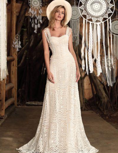 designer wedding dress boho style by Chic Nostalgia