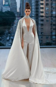 satin trousers cape modern wedding dress by Ines di Santo