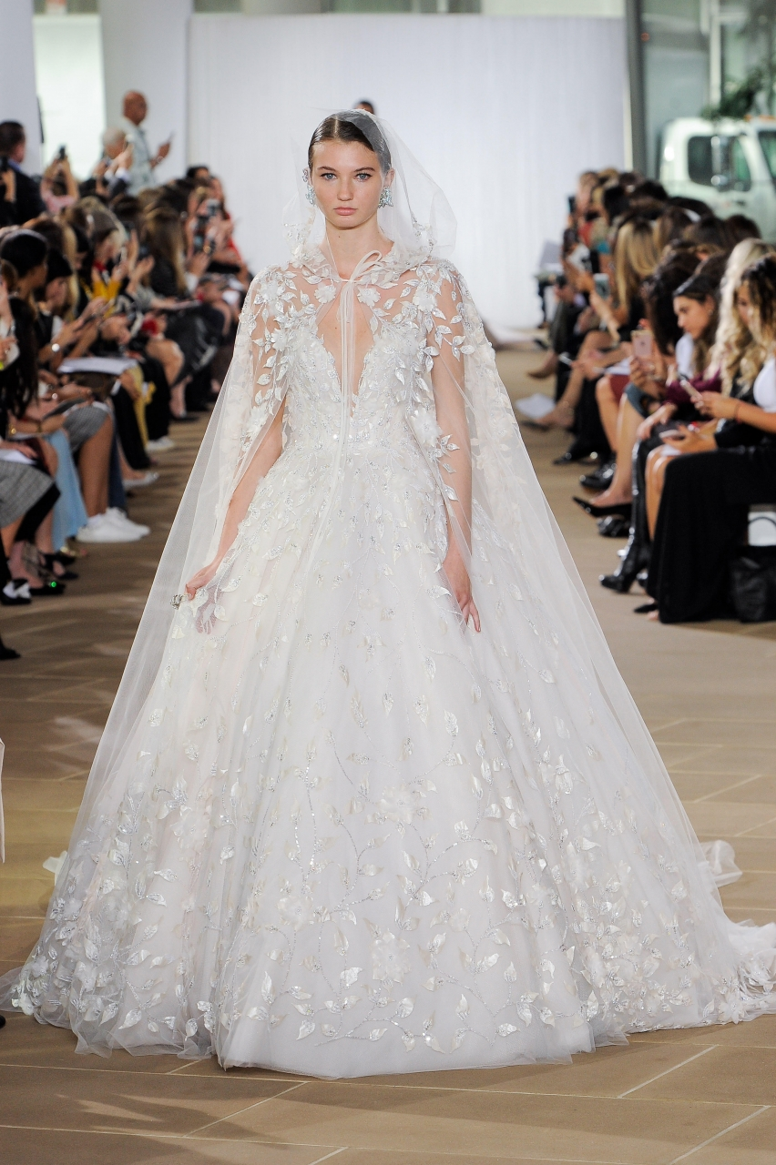 princes style with tule cape wedding dress by Ines di Santo
