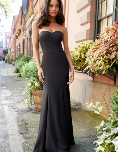 bridesmaid-dress-hayley-paige-Black-crepe-strapless-A-line