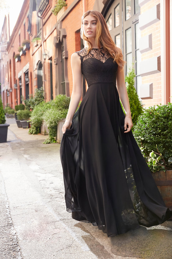 bridesmaid-dress-hayley-paige-Black-lace-bodice-with-trim-detail