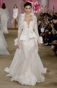 modern chic trendy wedding dress with long sleeves by Ines di Santo