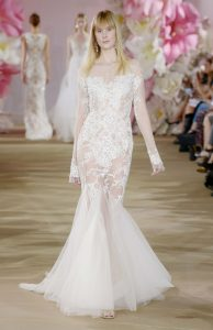 fitted off transparent tulle-cape modern wedding dress by Ines di Santo
