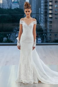 fitted off the shoulder modern wedding dress by Ines di Santo