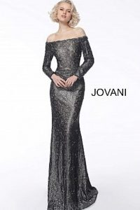 jovani-mother-evening-dress-Black-metallic-and-nude-lace-formal