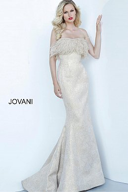 jovani-mother-evening-dress-Gold-Strapless-Feather-Neckline-Evening