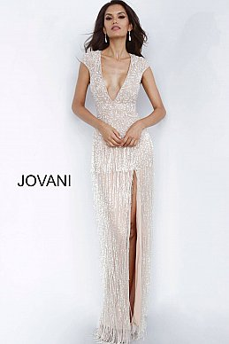 jovani-mother/evening dress Nude-High-Slit-Fringe-Skirt