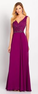 mother-evening-dress-by-moncheri-sleeveless chiffon A-line-gown-features a V-neckline