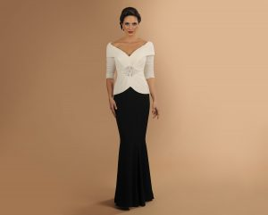 mother evening dress Black White