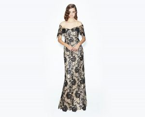 Gold_Black lace-strapless mother of the bride-evening-dress