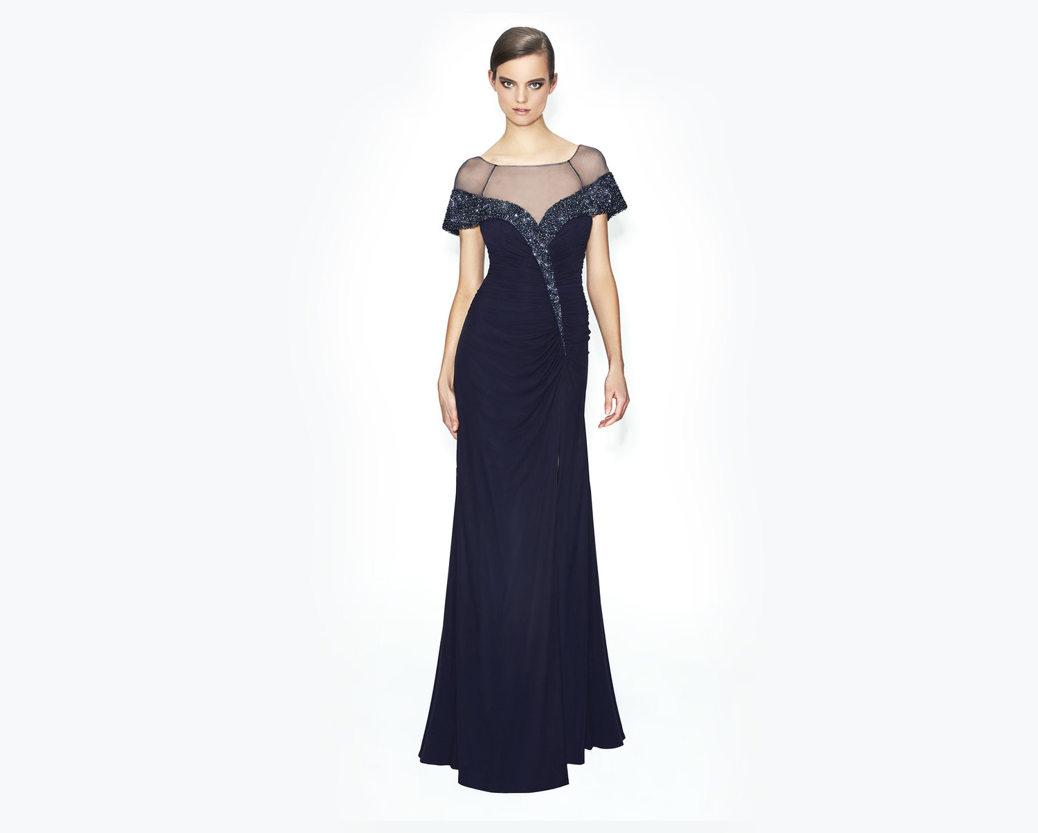 navy long modern elegant mother of the bride-evening-dress