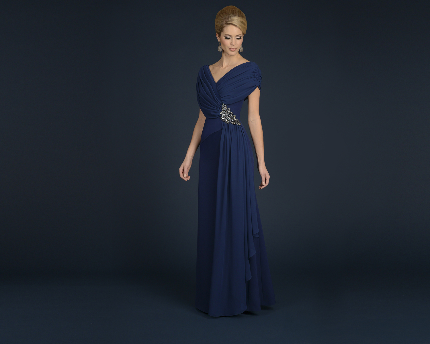 navy greek style mother of the bride-evening-dress