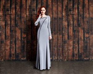 grey long mother of the bride-evening-dress