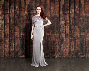 grey long modern chic mother of the bride-evening-dress