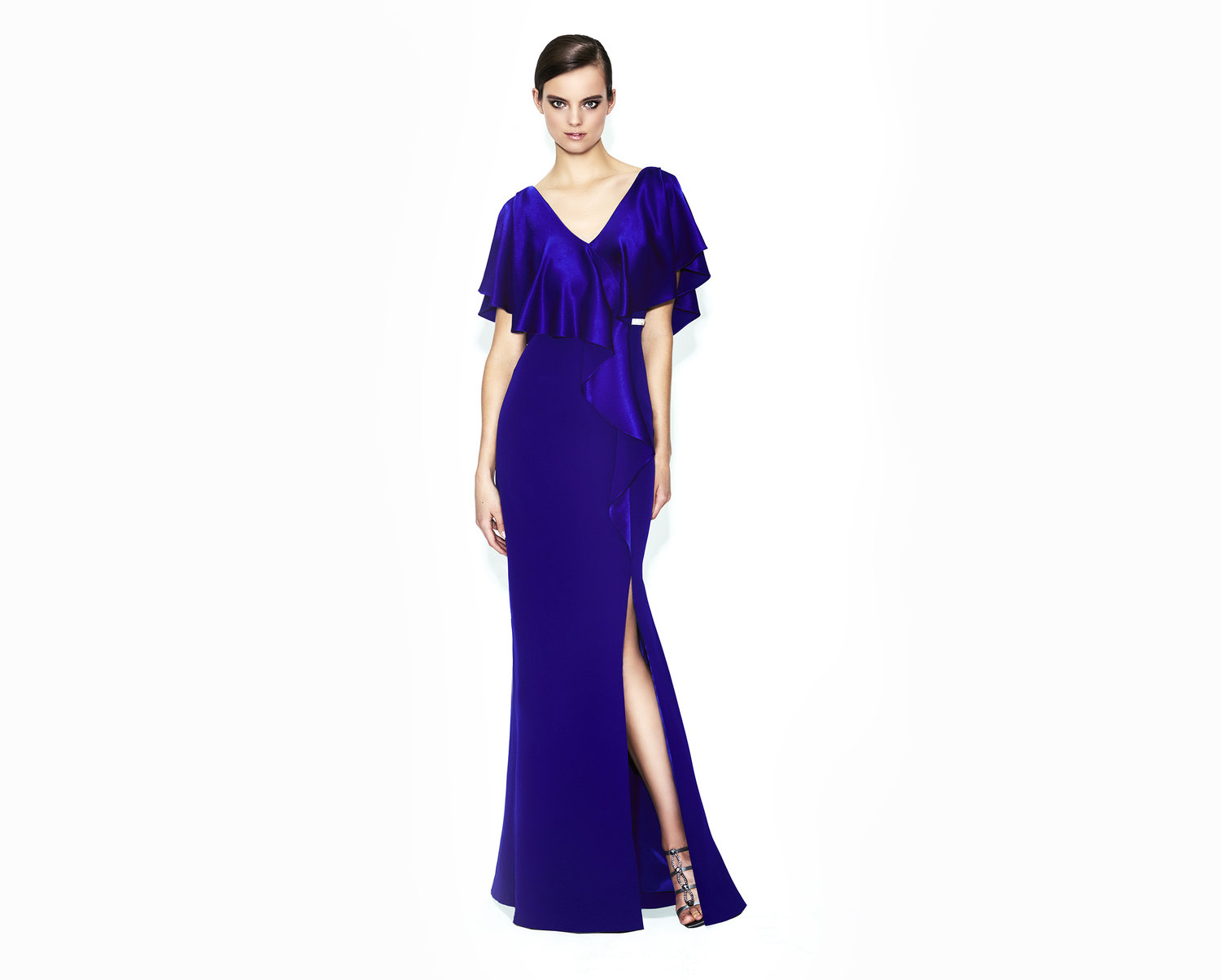 long satin indigo mother of the bride-evening-dress