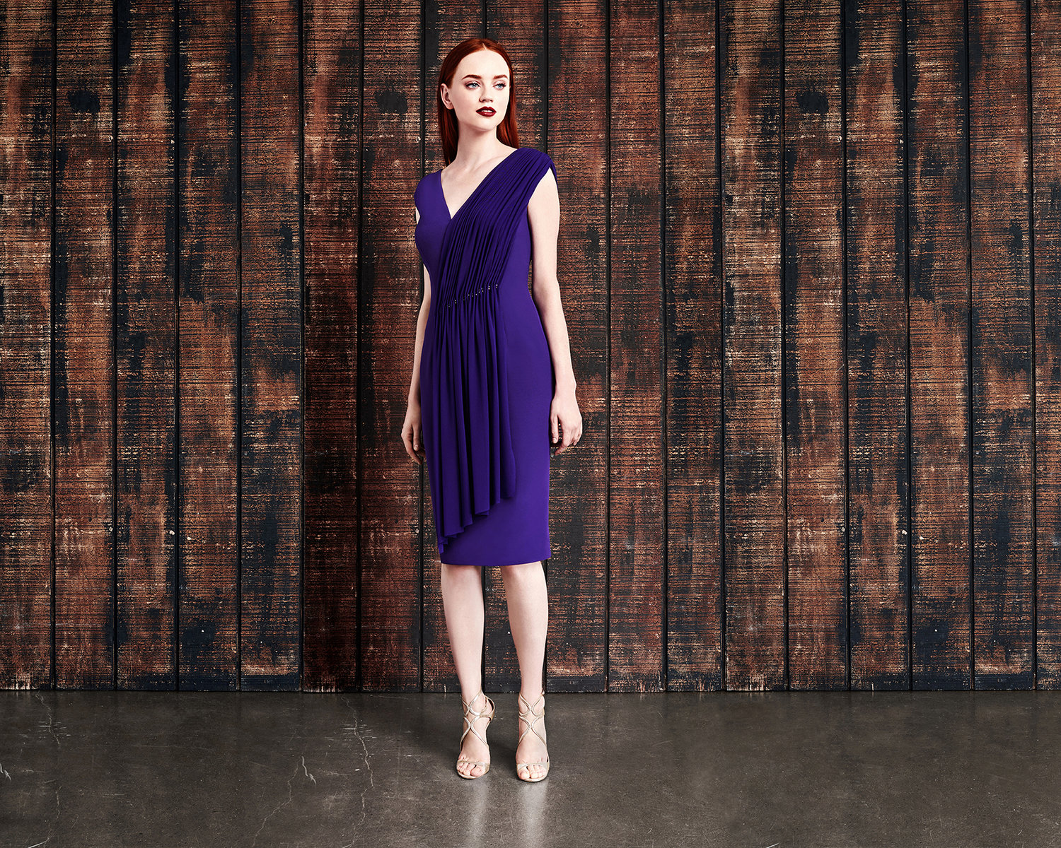 purple knee mother of the bride-evening-dress