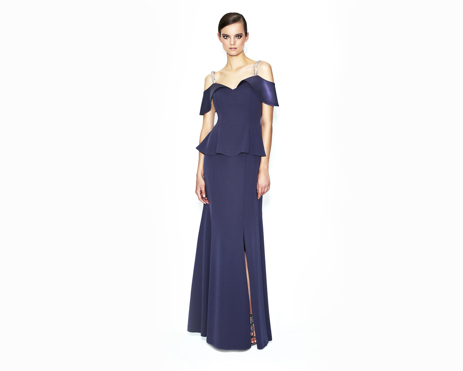 dark purple satin mother of the bride evening dress