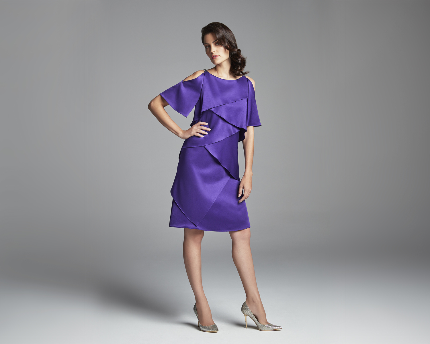 purple satin mother of the bride evening dress
