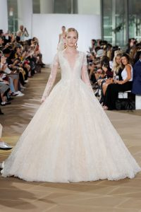 princes style long lace sleeve wedding dress by Ines di Santo