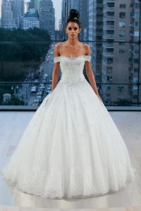 princes style off the shoulder wedding dress by Ines di Santo