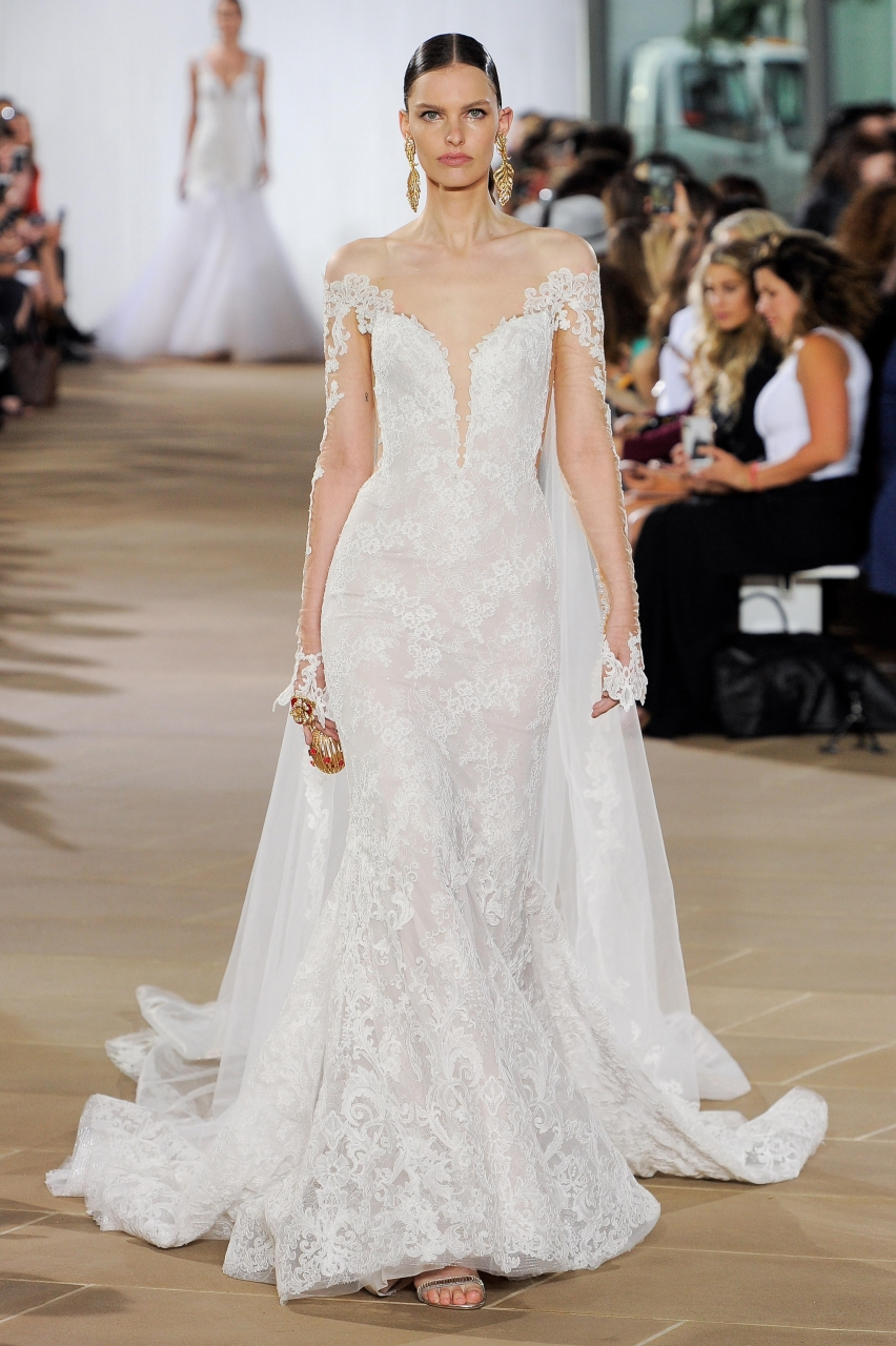 off the shoulder wedding dress by Ines di Santo