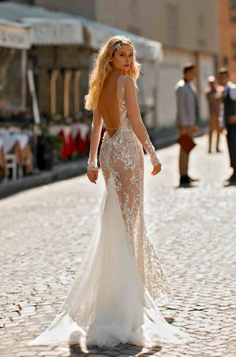 BERTA-PRIVEE-SEXY-seethrough-backless-lace-wedding-dress