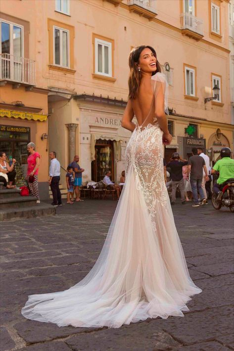 Berta Privée 20-P102-Trumpet wedding gown with spaghetti straps. wedding dress
