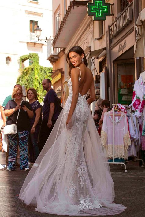 Berta Privée 20-P106- Backless wedding dress with overskirt.